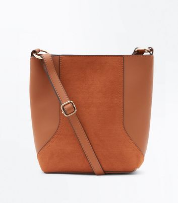 Tan Suedette Panel Bucket Bag