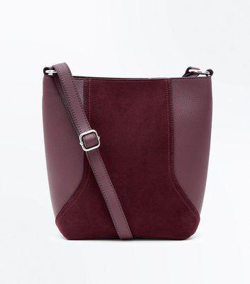 Burgundy Suedette Panel Bucket Bag