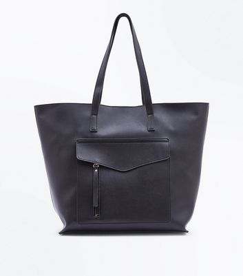 Black Pocket Front Structured Shopper Bag