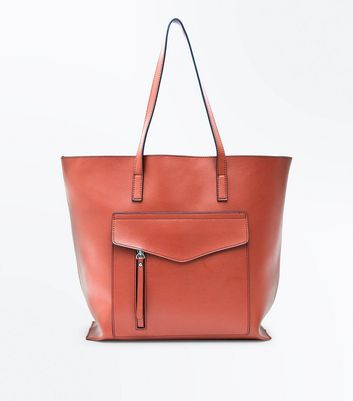 Rust Pocket Front Structured Shopper Bag