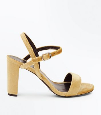 Wide Fit Mustard Velvet Block Heel Sandals