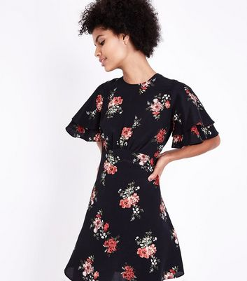 Black Floral Print Tiered Sleeve Tea Dress
