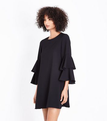 Black Tiered Sleeve Tunic Dress