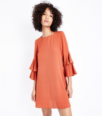 Orange Tiered Sleeve Tunic Dress