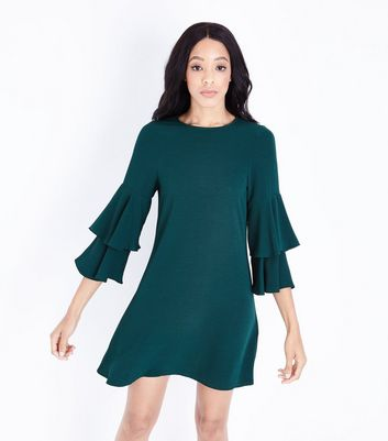 Dark Green Tiered Sleeve Tunic Dress