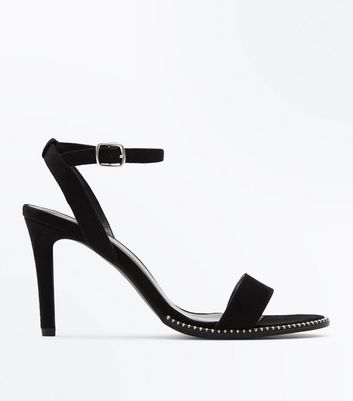 Wide Fit Black Suedette Stud Trim Heeled Sandals