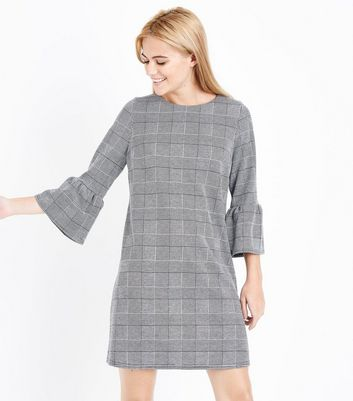Pale Grey Check Bell Sleeve Tunic Dress