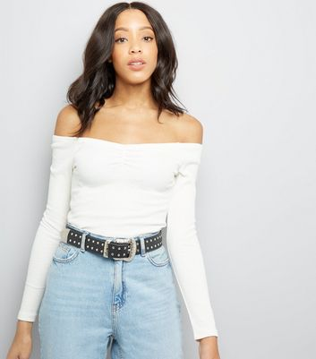 Cream Ribbed Sweetheart Neck Top