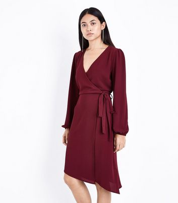 Petite Burgundy Asymmetric Hem Wrap Dress