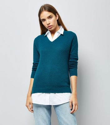 Apricot Blue 2 in 1 Layered Shirt Jumper