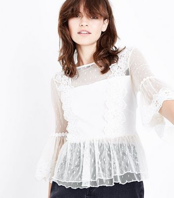 White Mesh Lace Trim Frill Hem Top