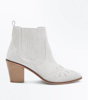 Chloe's Finds Wide Fit Cream Suede Studded Western Boots