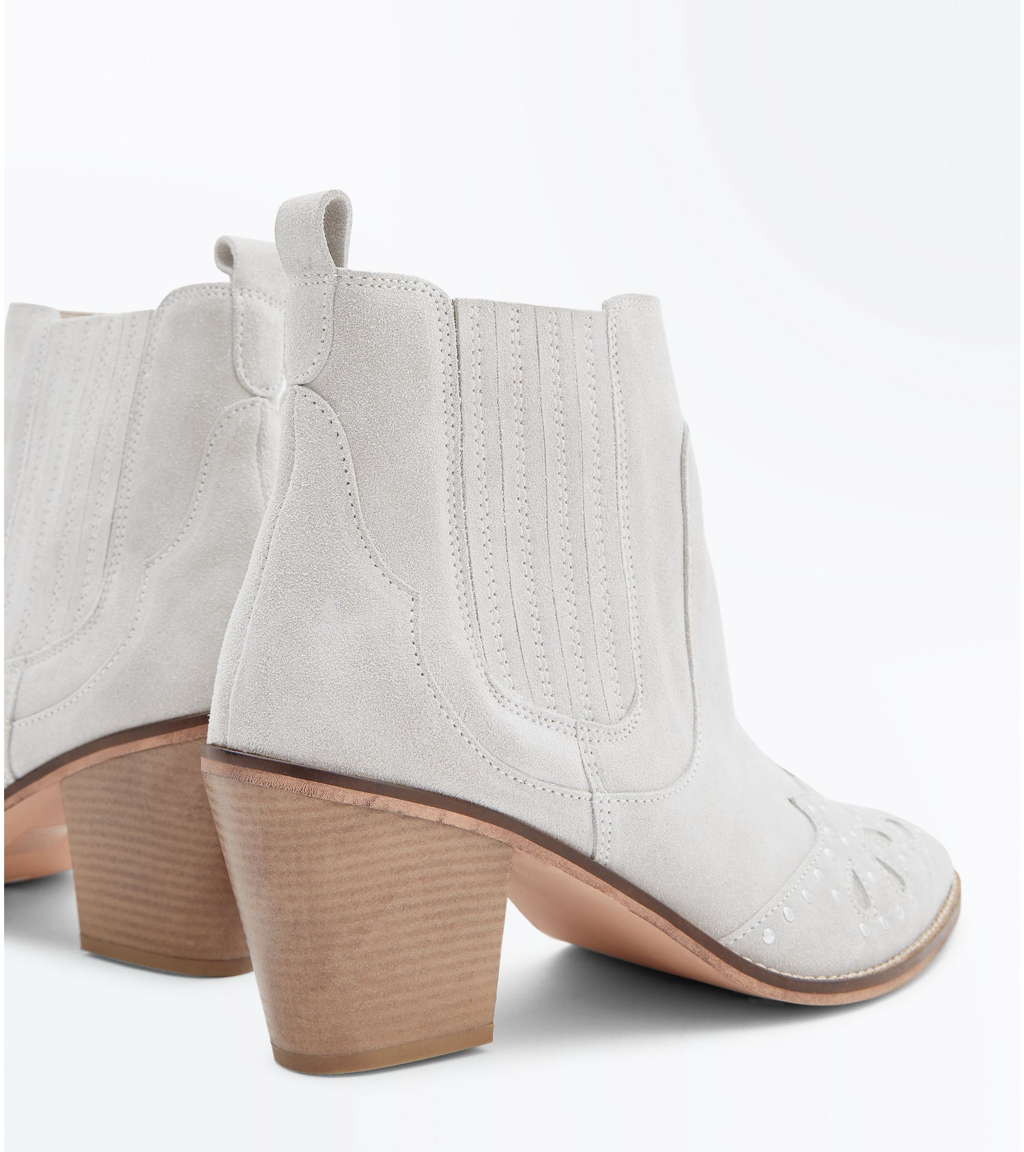 98d86d40aa6 Chloe's Finds Wide Fit Cream Suede Studded Western Boots