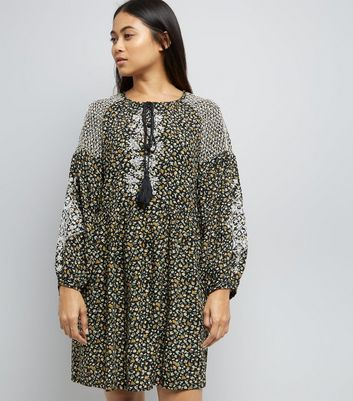 Petite Black Floral Print Embroidered Smock Dress