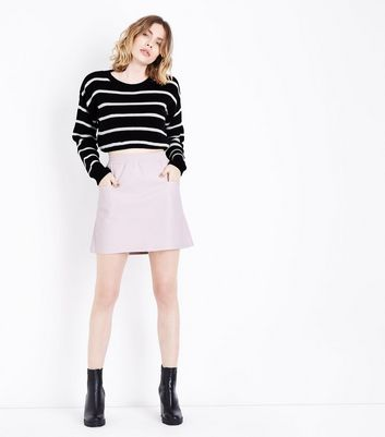 Noisy May Pink Leather-Look Mini Skirt