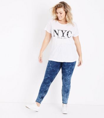 Curves – Marineblaue High Waist Skinny Jeans in Acid-Waschung