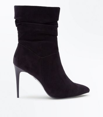 Black Suedette Stiletto Heeled Calf Boots