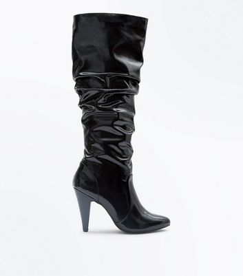 Black Patent Cone Heel Slouch Boots