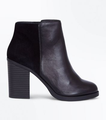 Black Comfort Leather Contrast Panel Heeled Boots