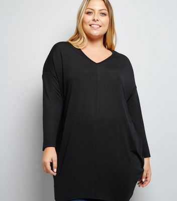Curves Black Cut Out Bar Back Tunic Top