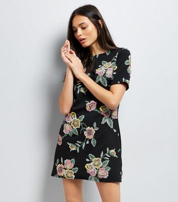 Black Floral Puff Print Tunic Dress