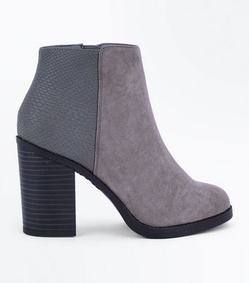 Grey Comfort Suedette Faux Snake Panel Ankle Boots