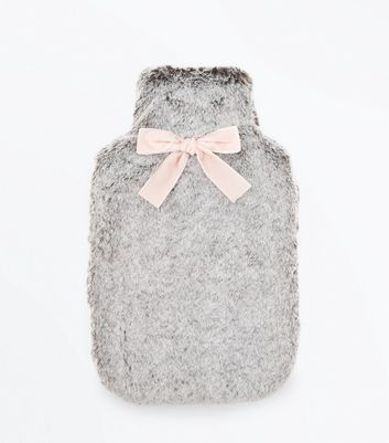 Grey Fluffy Bow Front Hot Water Bottle