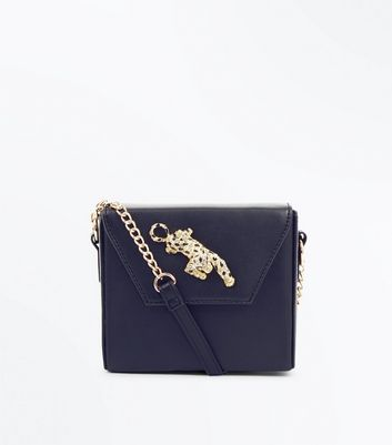 Black Leopard Embellished Box Shoulder Bag