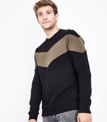 Khaki Chevron Panel Jumper