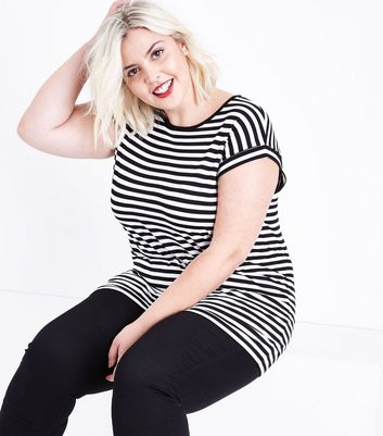 Curves Black Stripe Short Sleeve T-Shirt