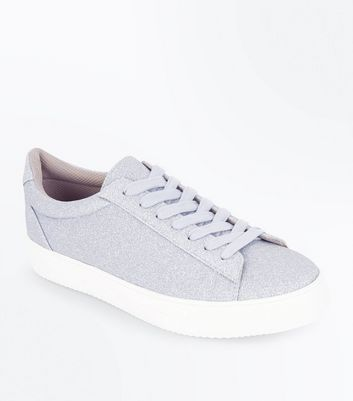 Silver Glitter Lace Up Trainers