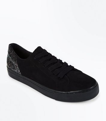 Black Suedette Iridescent Sequin Back Lace Up Trainers
