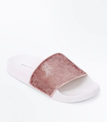 Rose Gold Sequin Strap Sliders