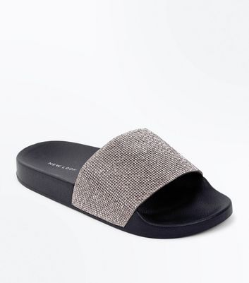 Pewter Diamante Strap Sliders