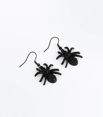 Black Gem Embellished Spider Earrings