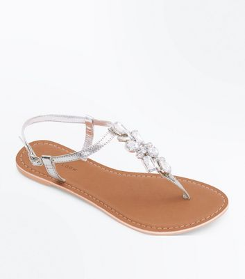 Silver Leather Gem Embellished Toepost Sandals
