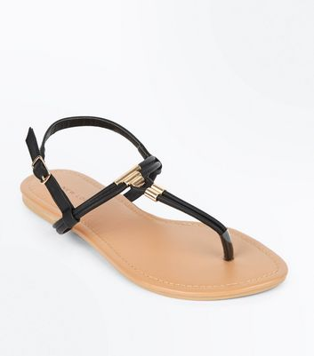 Black Gold Metal Toe Post Sandals