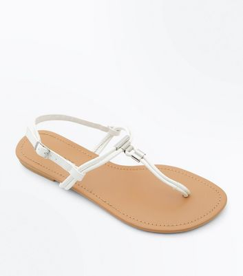 White Metal Trim Flat Sandals