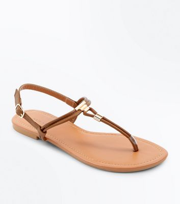 Tan Metal Trim Toe Post Sandals