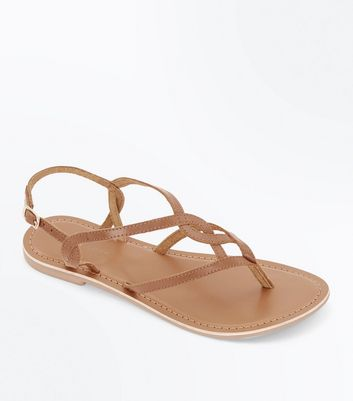 Tan Leather Woven Strap Flat Sandals