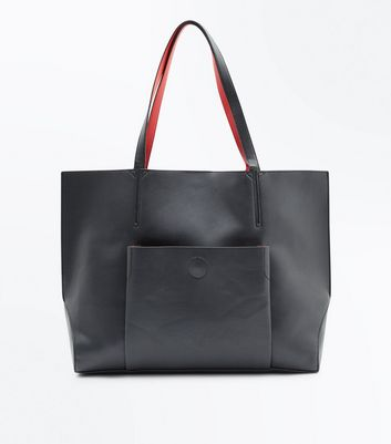 Red Contrast Pocket Front Tote Bag