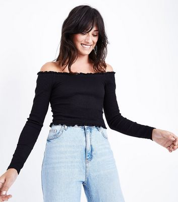 Black Crepe Frill Bardot Neck Top