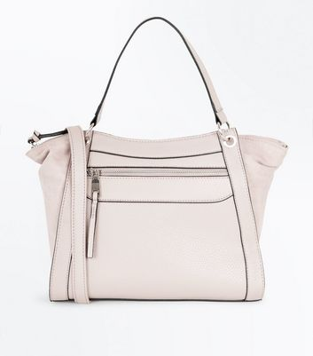 Cream Zip Front Cross Body Bag