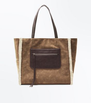 Tan Faux Shearling Lined Tote Bag