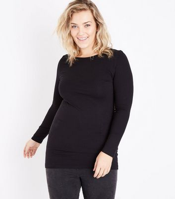 Curves Black Long Sleeve Tunic Top