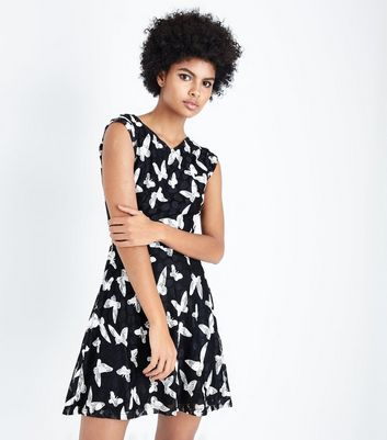 Mela Black Butterfly Print Dress