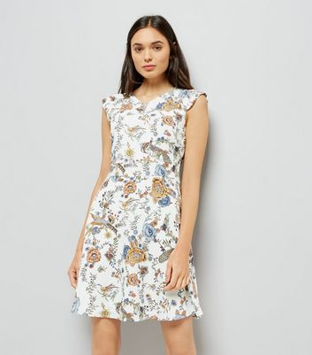 Mela White Peacock Print Skater Dress