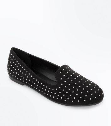 Teens Black Suedette Studded Loafers