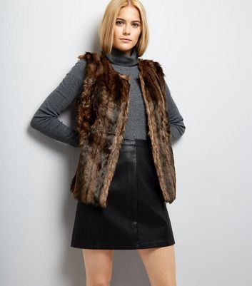 Mela Brown Faux Fur Gilet