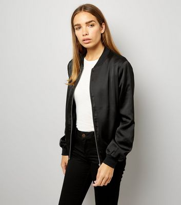 Tall Black Satin Bomber Jacket